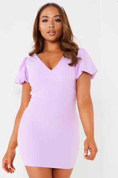 Petite Lilac Puff Sleeve Bodycon Dress